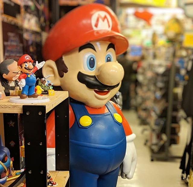 Super Mario figurine at Super Potato game store in Akihabara, Tokyo, Japan