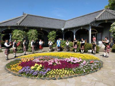 Colorful flowers in the Glover Garden in Nagasaki, Japan