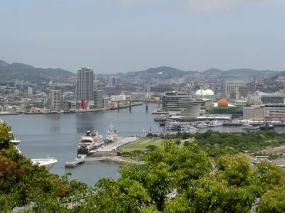 View of the Nagasaki Port in Japan