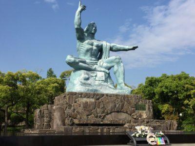 Peace Statue in Nagasaki Peace Park in Japan