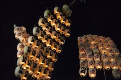 Lanterns in the night at the Kanto Festival Akita