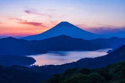 Mount Fuji and a nearby lake at sunrise