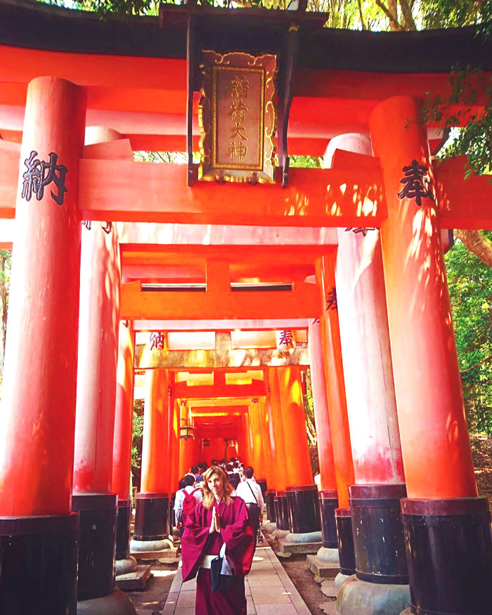 Red torii gates in the Fushimi Inari Taisha shrine in Kyoto, Japan