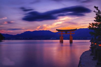 Miyajima floating torii gate in the water in Miyajima, Hiroshima, Japan