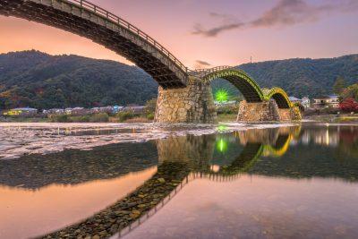 Iwakuni, Japan at Kintaikyo Bridge at dusk