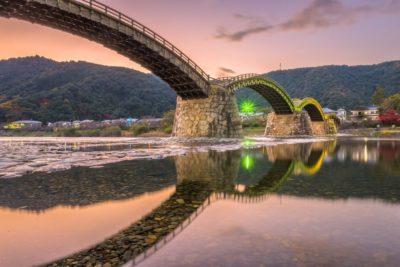 The Kintaikyo Bridge at dusk in Iwakuni, Japan