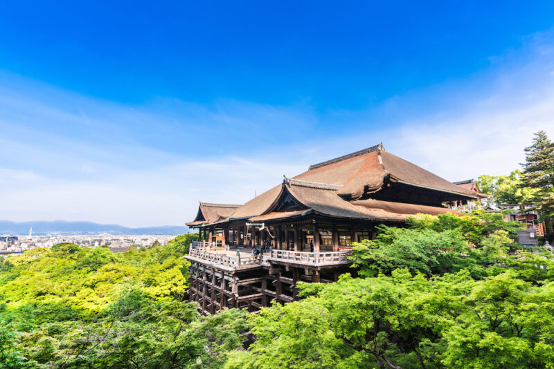 View of Kiyomizu-dera temple in Kyoto, Japan during summer