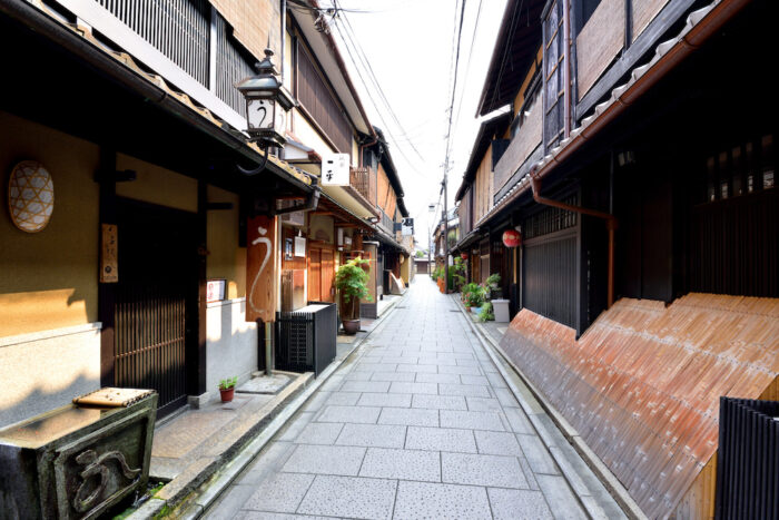 A traditional district with machiya traditional houses in Kyoto