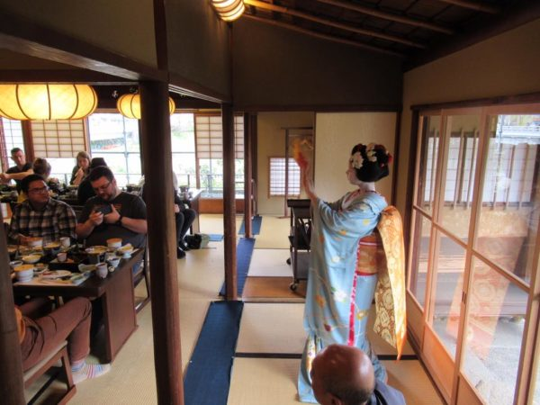 Maiko in a traditional building in Kyoto, Japan