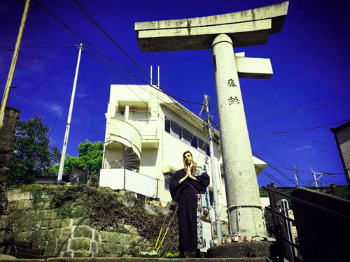 One-legged torii gate of the Sanno sanctuary in Nagasaki, Japan