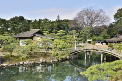 Okayama garden with bridge in Japan