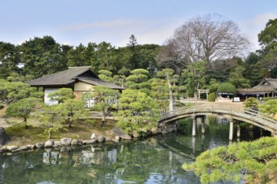 Okayama garden with bridge in Japan