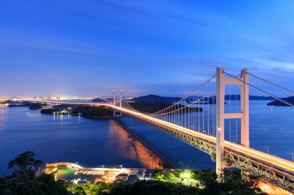The Great Seto Bridge (Seto Ohashi) by night in Japan