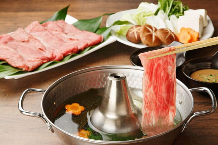 Shabu shabu hot pot meat dish from Japan