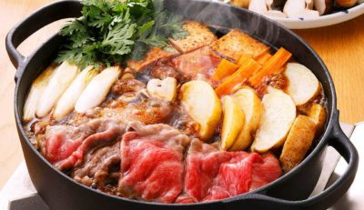 Sukiyaki, a Japanese hot pot meat dish