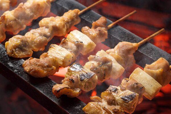 Yakitori grilled chicken skewers in Japan