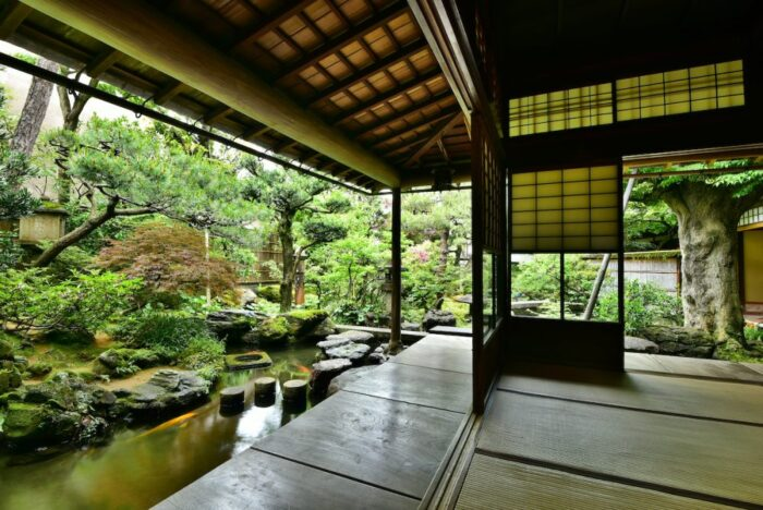 Garden and veranda of an old samurai house in Kanazawa, Japan