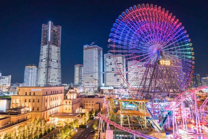 Minato Mirai ferris wheel by night in Yokohama, Japan