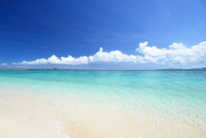 Clear ocean and white beach in Okinawa, Japan