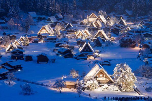 Shirakawago with snow