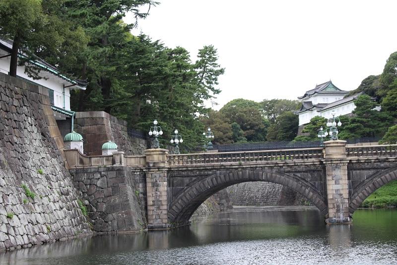 Eyeglasses bridge seen from Imperial Palace plaza in Tokyo, Japan