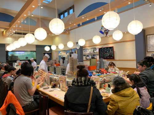 Kaiten sushi (conveyor belt sushi) restaurant in Japan