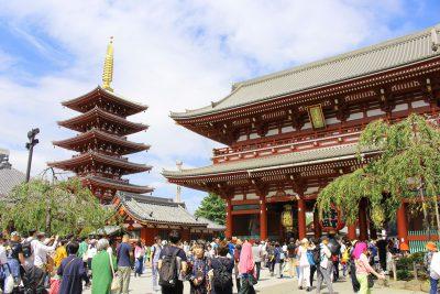 Asakusa Sensoji temple's pagoda and gate in Tokyo, Japan