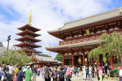 Asakusa Sensoji temple pagoda and gate in Asakusa, Tokyo, Japan