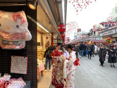 Nakamise shopping street in Asakusa, Tokyo, Japan