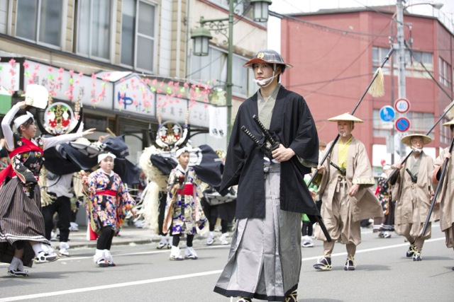 A man dressed as a samurai in a parade in Tono, Japan