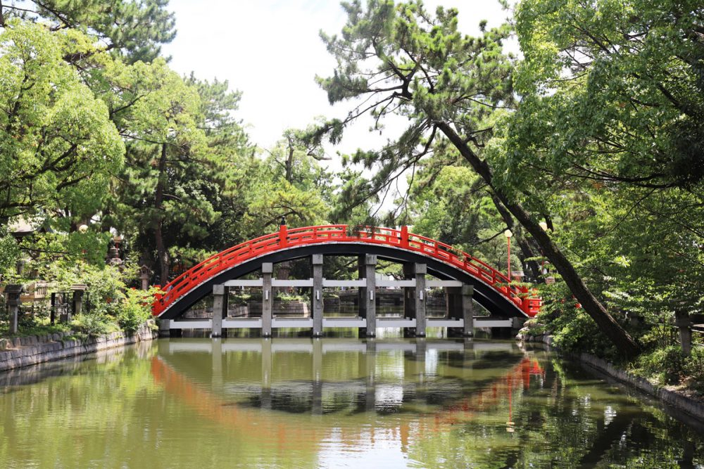 Bridge at the Sumiyoshi Taisha shrine in Osaka, Japan
