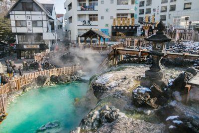 Steaming hot spring in Kusatsu Onsen, Gunma, Japan