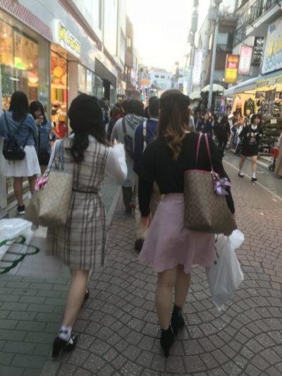 Young girls shopping in Takeshita street in Harajuku, Tokyo, Japan