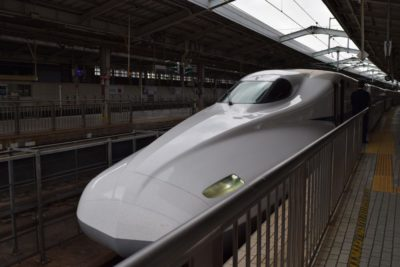 The nose of a shinkansen bullet train in Japan
