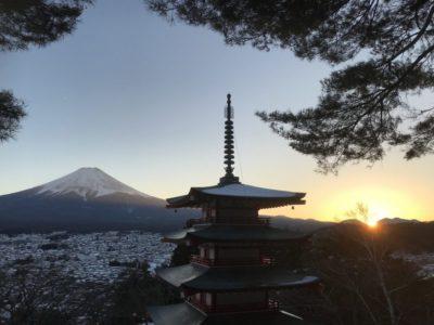 Sunset in Kawaguchiko with Mt Fuji and Chureito pagoda in Japan