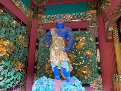 A blue statue at Nikko Taiyuin