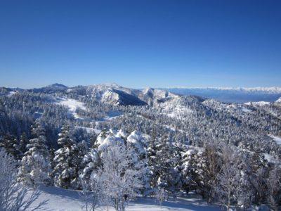 Snowy mountains in Shiga Kogen winter sports area in Nagano, Japan