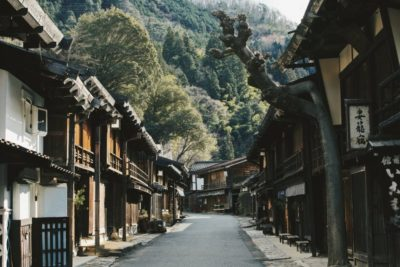 Townscape of Tsumago post town on the Nakasendo trail in Japan