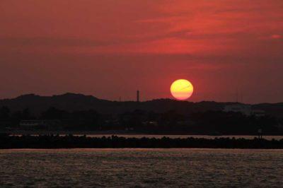 Sunset on Lake Hamanako in Shizuoka, Japan