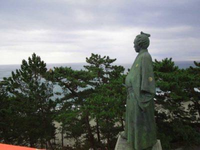 Statue of Ryoma Sakamoto on Katsurahama beach in Kochi, Japan