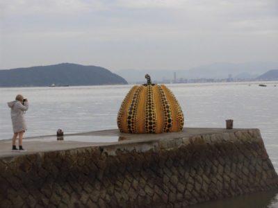 Yayoi Kusama's art in Naoshima, Kagawa, Shikoku, Japan
