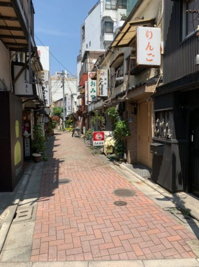 A local side street in Monzennakacho in Tokyo, Japan