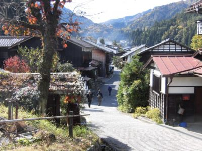 Old houses on the Nakasendo trail in postal town Tsumago in Nagano, Japan