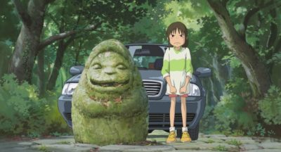 Ghibli movie Spirited Away statue and car