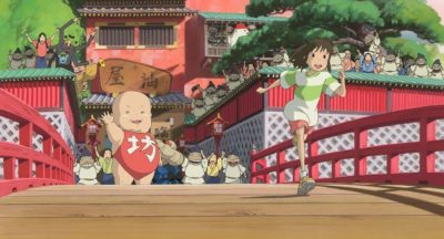 Ghibli movie Spirited Away running over a bridge