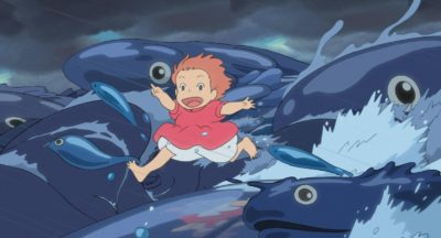 Ghibli movie Ponyo girl with fish