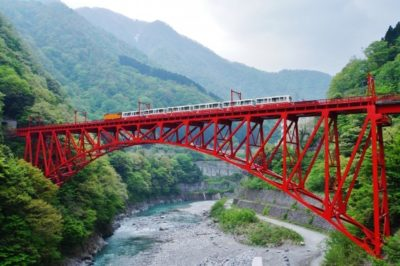 Red bridge over the Kurobe Gorge in Toyama, Japan