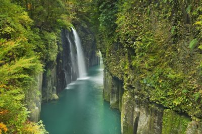 Waterfall in the Takachiho Gorge in Miyazaki, Japan during fall