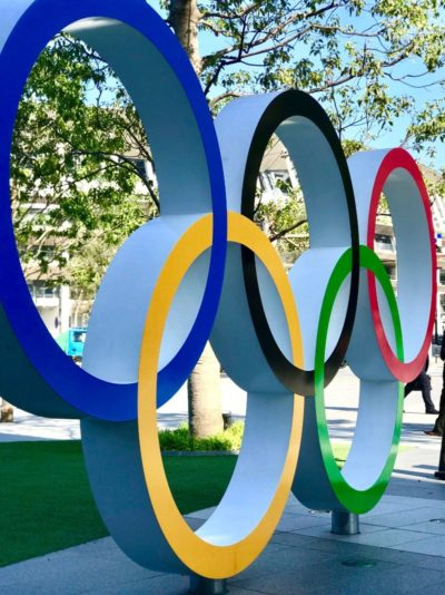 The olympic ring sign in Odaiba, Tokyo, Japan 2020 2021