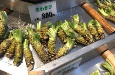 Roots of wasabi on a market in Japan